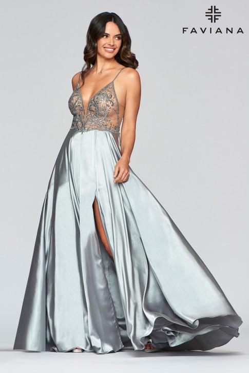 Faviana S10401 Satin A-Line Dress