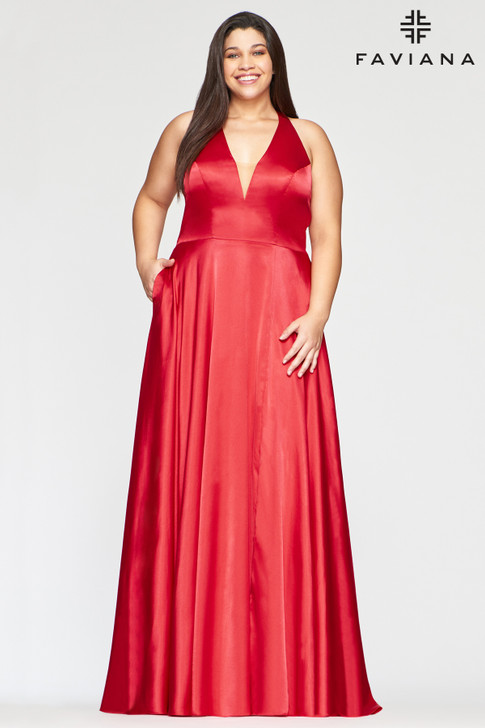 Faviana 9495 Satin A-Line Plus Size Dress