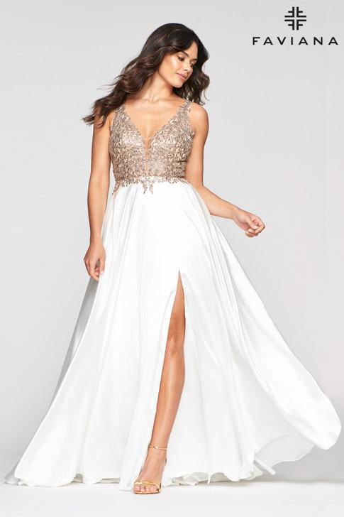 Faviana 10407 Flowy Satin Dress