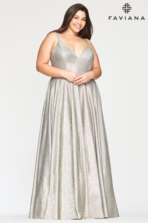 Faviana 9493 Metallic A-Line Plus Size Dress