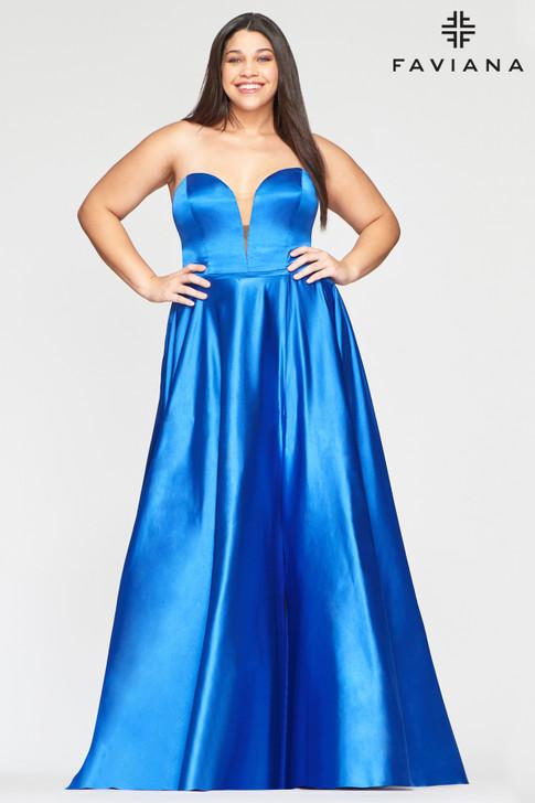 Faviana 9497 Strapless Satin Ballgown Plus Size Dress