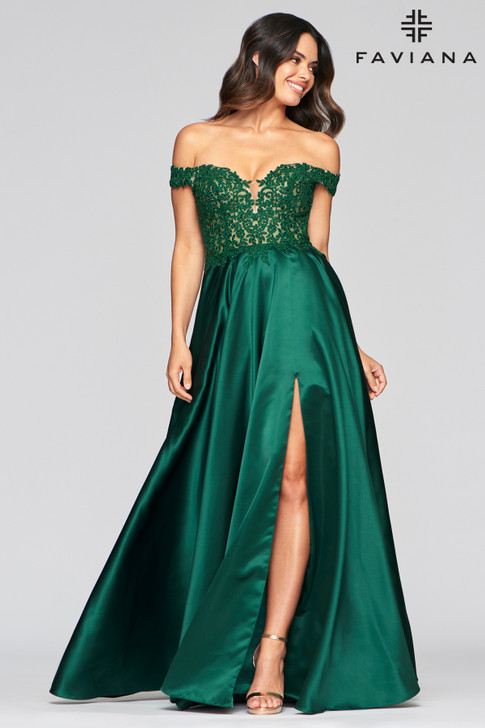 Faviana 10422 Off the Shoulder A-Line Dress