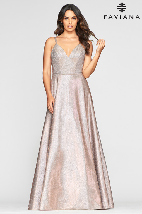 Faviana S10424 Metallic Ballgown Dress