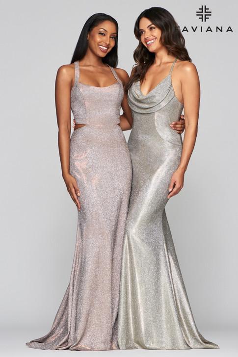 Faviana S10453 Copper Metallic Dress (on left)