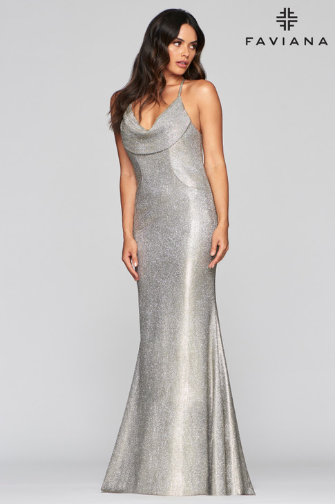 Faviana S10455 Metallic Fit and Flare Dress