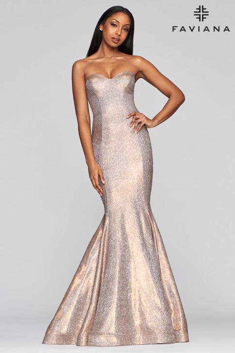 Faviana S10426 Strapless Metallic Mermaid Dress
