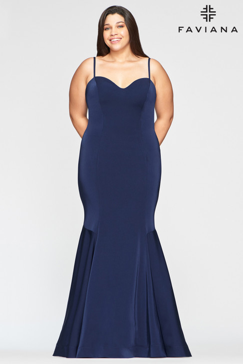 Faviana 9489 Satin Mermaid Plus Size Dress