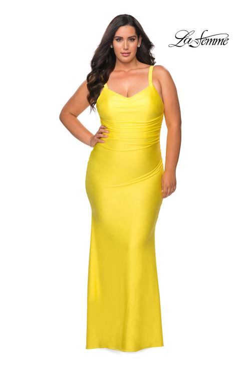 La Femme Curve 29005 Fitted Jersey Plus Size Dress