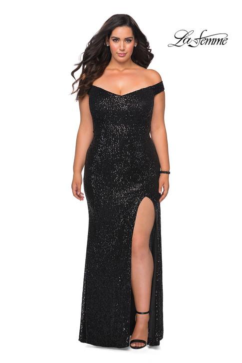 La Femme Curve 29023 Plus Size Sequin Dress