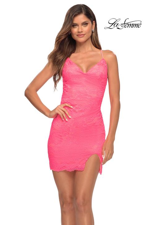 La Femme 30353 Neon Pink short dress