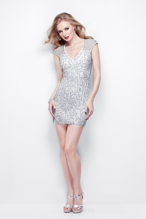 Primavera 1336 Sequin Cocktail Dress