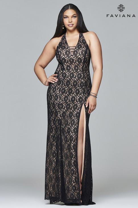 Faviana 9398 Plus Size Lace Dress