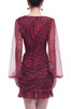SURPLICE NECK WITH BOUFFANT SLEEVE AND ASYMETRICAL HEM DRESS BAN2105-0356