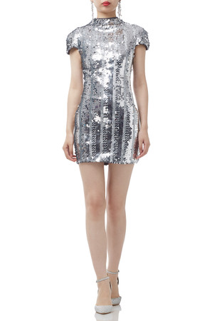 SILVER SEQUINED  HIGH NECK DRESS BAN1908-1086