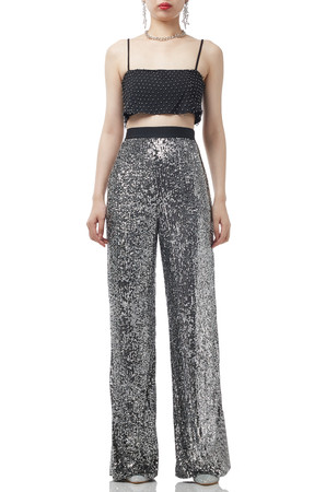 SILVER SEQUINED LONG PANTS BAN1907-0973