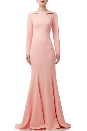 ROUND NECK FLOOR LENGTH DRESS BAN1908-0524