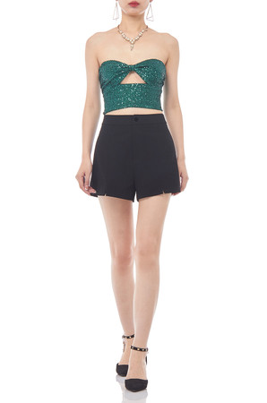 STRAPLESS ZIP UP CROP TOP BAN1907-0209
