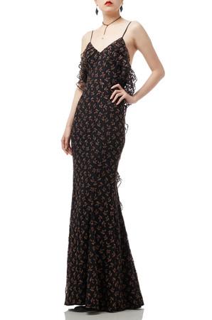 FLOOR LENGTH FALBALA STRAP DRESS BAN1812-1095