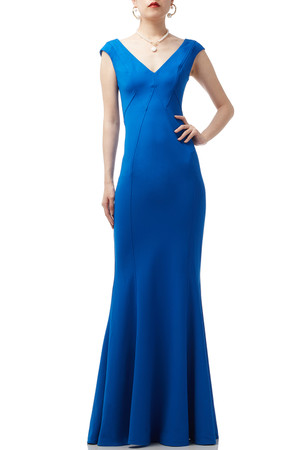 DEEP V-NECK TRUMPET FLOOR LENGTH DRESS BAN1909-0298