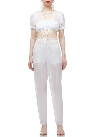 HIGH WAISTED SEE THROUGH ANKLE LENGTH  PANTS BAN2007-0007