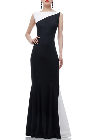 BOAT NECK FLOOR LENGTH TRUMPET DRESS BAN1908-0509