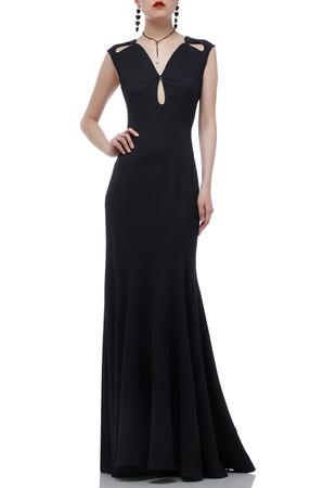 V-NECK  FLOOR LENGTH KEY HOLE FRONT TRUMPET DRESS BAN1908-0636