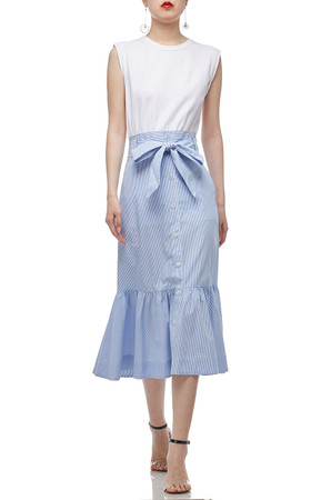 ROUND NECK BELTED MID-CALF LENGTH DRESS BAN1912-0503