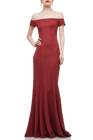 OFF THE SHOULDER FLOOR LENGTH TRUMPET DRESS BAN1812-0676