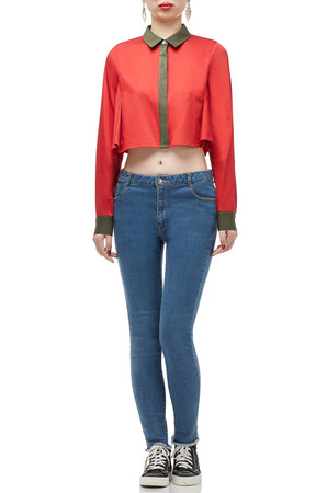 BUTTON DOWN CROP TOP BAN1805-0473