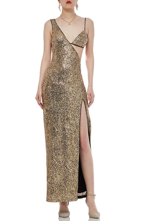 SLIT ASIDE SEQUINED DRESS BAN1908-0571