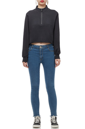 HIGH NECK WITH HALF ZIP CROPPED TEE TOP BAN2007-0153