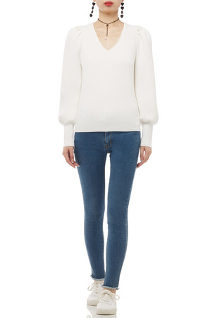 V-NECK WITH BOUFFANT SLEEVE AND KNIT CUFF TOP BAN1905-0535