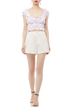 SQUARE NECK WITH TIE FRONT CROPPED TOP BAN2001-0199