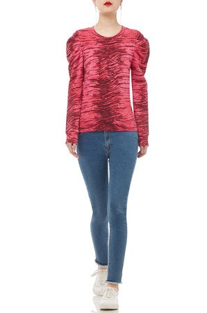 ROUND NECK GIGOT SLEEVE TOP BAN1906-0122