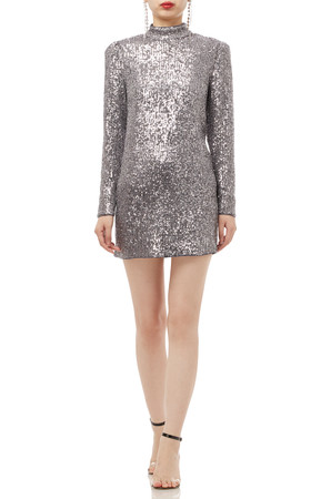 HIGH NECK WITH KEY HOLE BACK SEQUINED DRESS BAN1908-0943