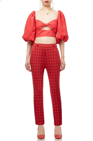 PUFF SLEEVE WITH BOW TIE ON THE BACK CROP TOP BAN1912-0183