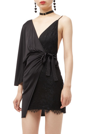 TIE ON THE SIDE WITH ONE SLEEVE DRESS BAN1908-0987