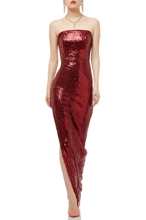 STRAPLESS WITH SLIT ASIDE ANKLE LENGTH SEQUINED DRESS BAN1909-0680