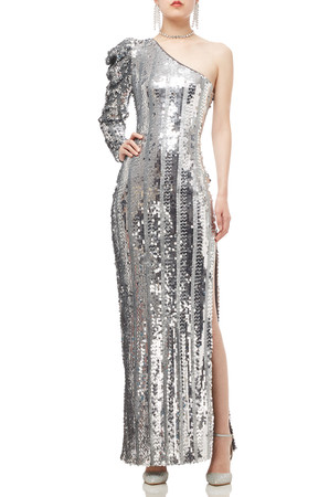 ONE SHOULDER WITH GIGOT SLEEVE SEQUINED DRESS BAN1909-0208