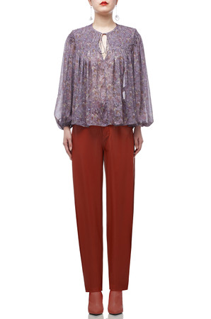 TIE FRONT WITH BOUFFANT SLEEVE TOP BAN1911-0974