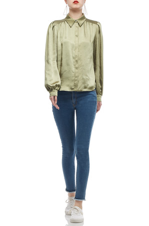 BUTTON DOWN WITH BOUFFANT SLEEVE SHIRT TOP BAN2009-0422