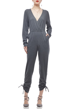 DEEP V-NECK DRAWSTRING ON THE LEG JUMPSUITS BAN2008-0005