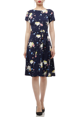 ROUND NECK BELTED WITH CAP SLEEVE DRESS BAN1801-0015