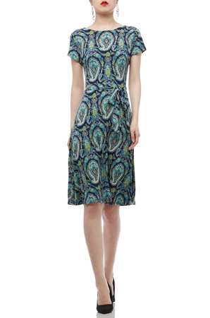 ROUND NECK BELTED WITH CAP SLEEVE DRESS BAN1903-0287