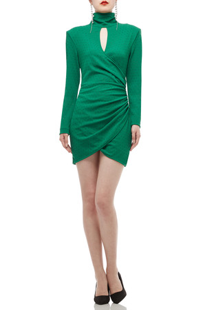 TURTLE NECK ASYMETRICAL HEM DRESS BAN2009-0551