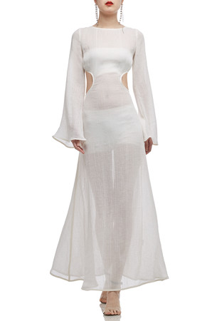 SEE THROUGH WITH BOAT NECK BACKLESS COVER UP DRESS BAN2010-0226