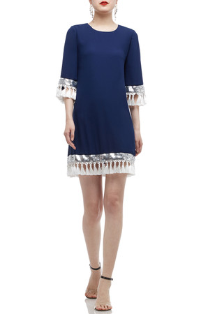 ROUND NECK WITH KEY HOLE BACK AND FRINGE DRESS BAN2010-0267-BS