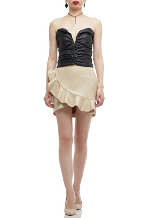 STRAPLESS PLEATED ZIP UP TOP BAN2010-0458