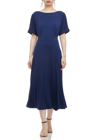 BOAT NECK WITH DOLMAN SLEEVE AND SLIT ASIDE MID-CALF DRESS BAN2011-0627-B
