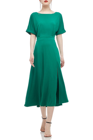 BOAT NECK WITH DOLMAN SLEEVE AND SLIT ASIDE MID-CALF DRESS BAN2011-0627-G